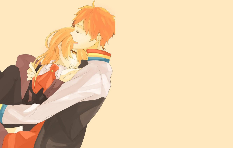 Photo wallpaper girl, background, hugs, guy, Starry Sky, Starry★Sky, visual novel, anime (2011)