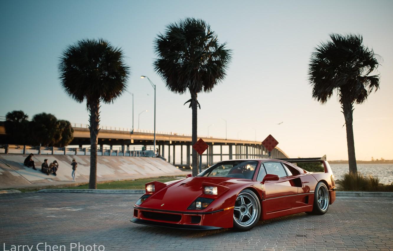 Photo wallpaper bridge, palm trees, people, Ferrari, F40, Miami, Larry Chen