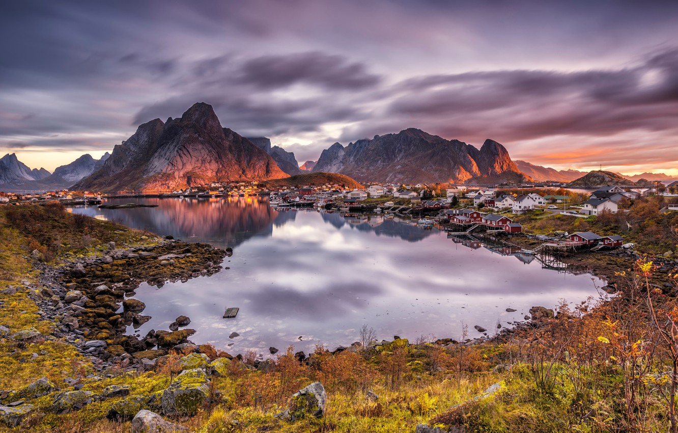 Photo wallpaper the sky, grass, the sun, clouds, sunset, mountains, stones, home, Norway, Bay, The Lofoten Islands, …