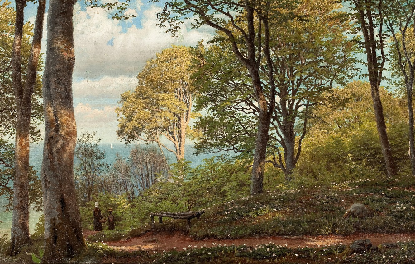Photo wallpaper Danish painter, Peter Merk Of Menstad, Peder Mørk Mønsted, Danish realist painter, 1879, oil on …