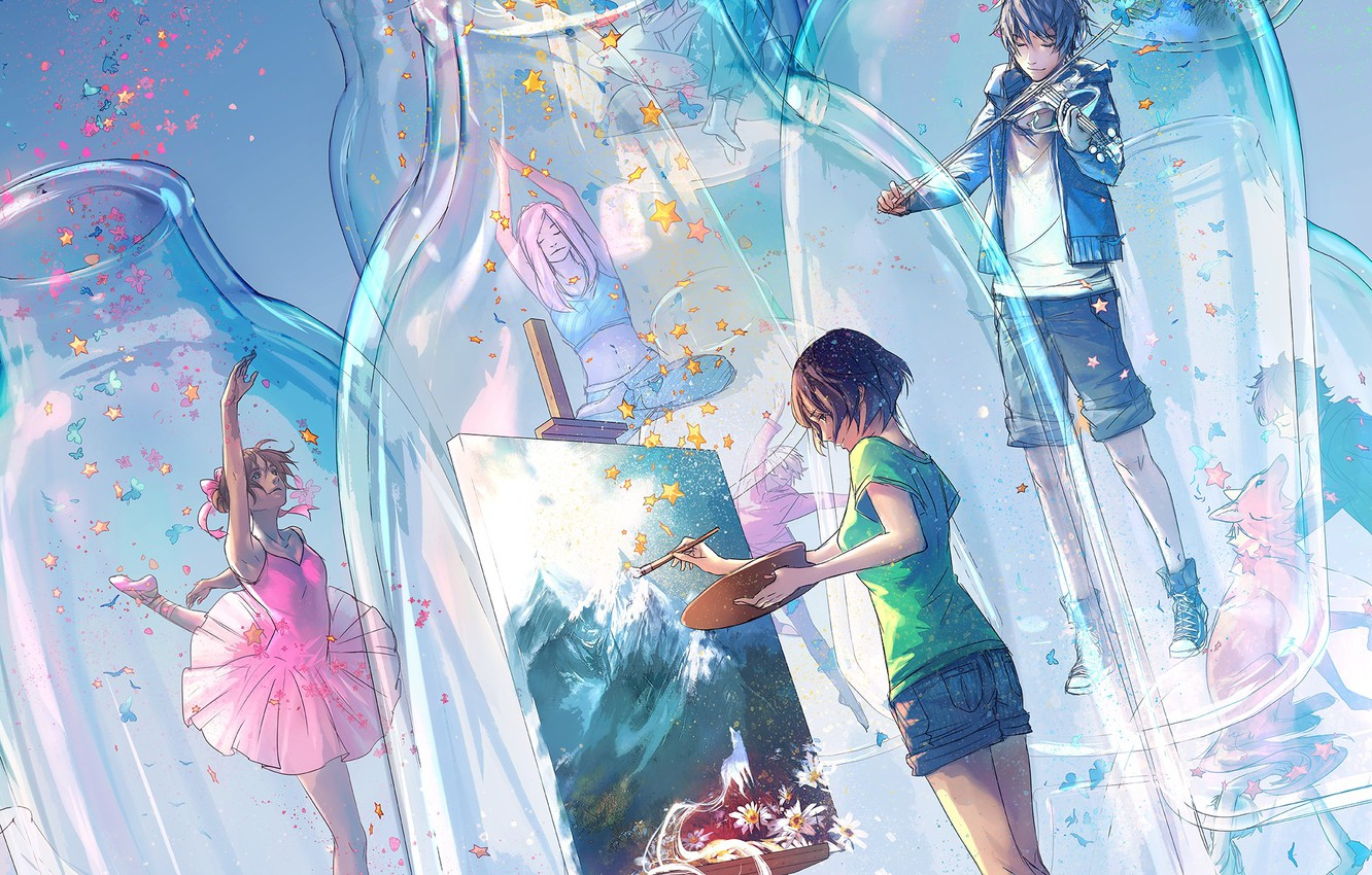Photo wallpaper glass, butterfly, shorts, stars, bottle, ballerina, violinist, artist, imagination, the Lotus position, easel, boy with …