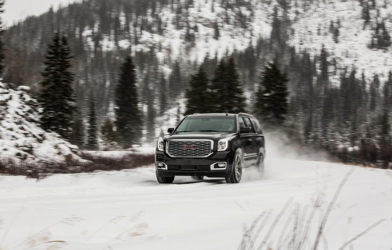 Photo wallpaper 2018, GMC, SUV, Denali, Yukon, wet snow