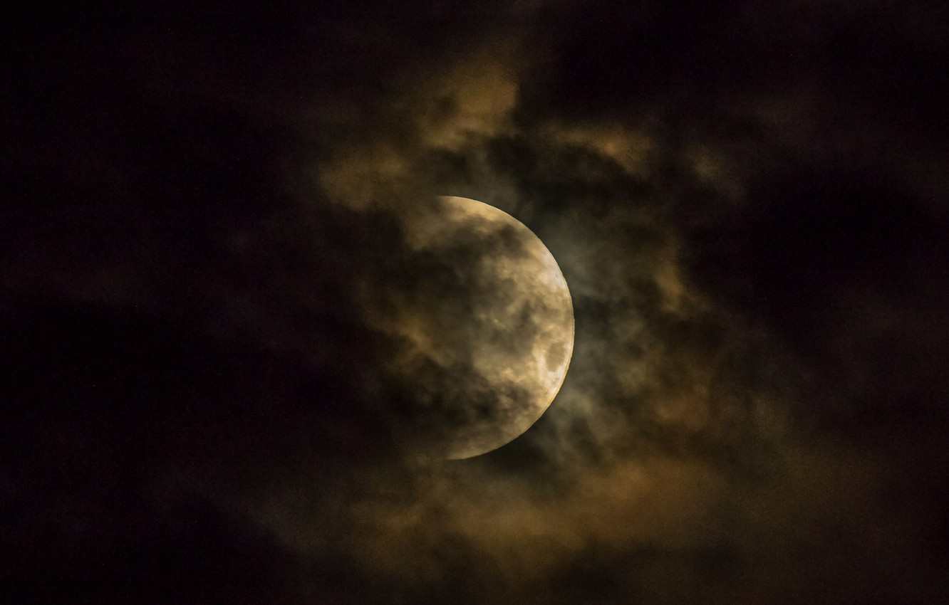 Photo wallpaper clouds, planet, The moon