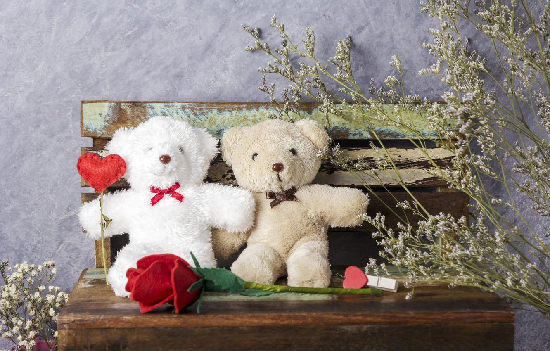 Photo wallpaper love, flowers, gift, toy, heart, roses, bear, red, love, bear, heart, wood, flowers, romantic, teddy, …
