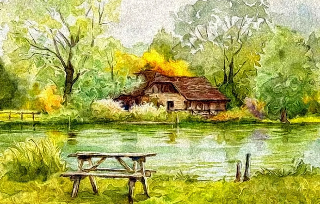Photo wallpaper trees, abstraction, rendering, figure, canvas, the beginning of autumn, acrylic, The lake house, the green …
