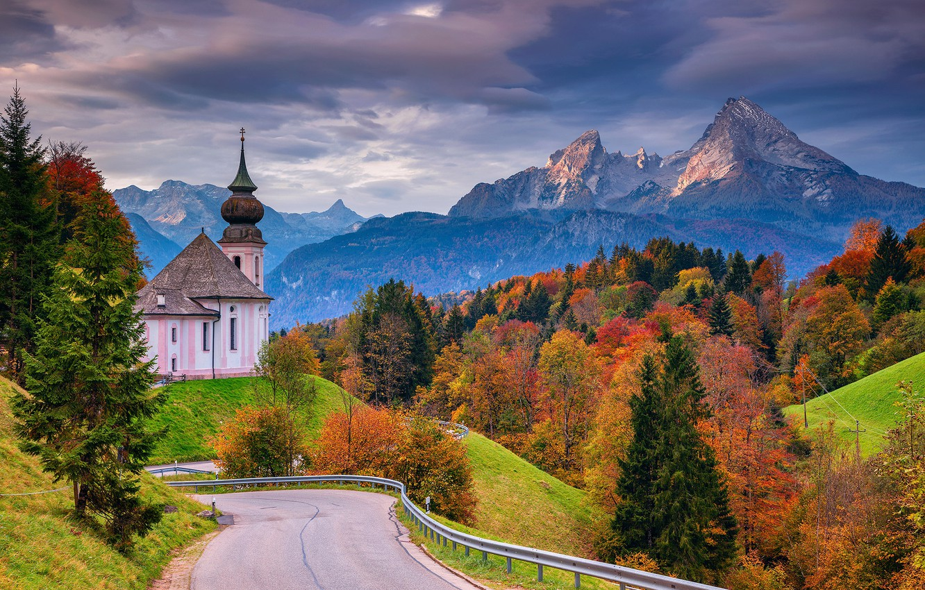 Photo wallpaper road, autumn, forest, trees, mountains, Germany, Bayern, Church, Germany, Bavaria, Bavarian Alps, The Bavarian Alps, ...