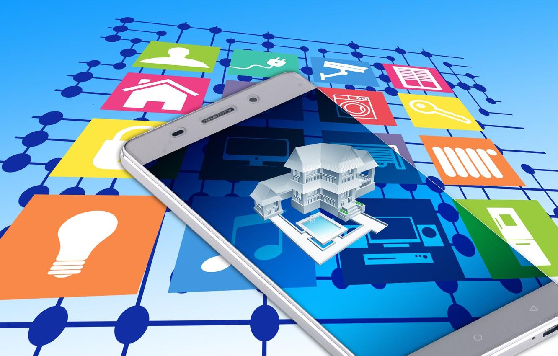 Управление фотообоями, технология, смартфон, умный дом