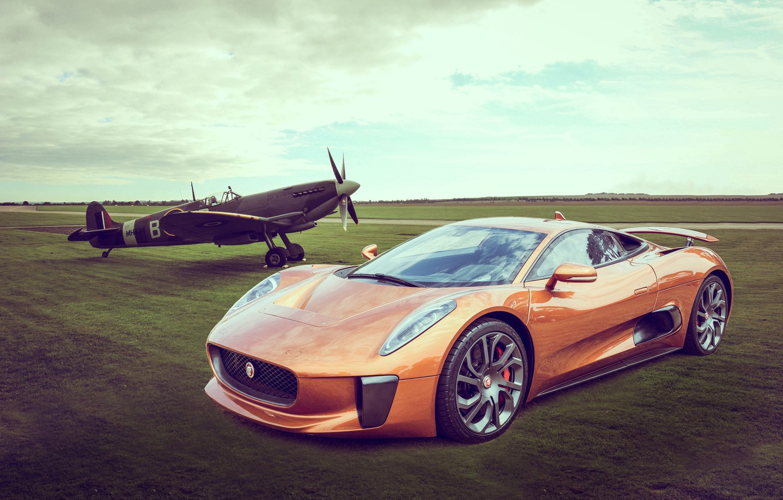 Photo wallpaper Orange, Spitfire, CX-75, Jaguar/