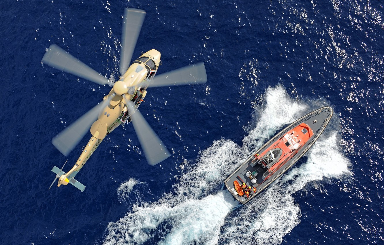 Photo wallpaper Ship, Wave, Helicopter, Airbus, Airbus Helicopters, Airbus Helicopters H175, H175