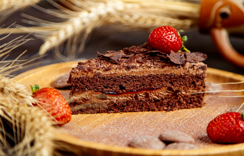 Photo wallpaper strawberry, cake, chocolate