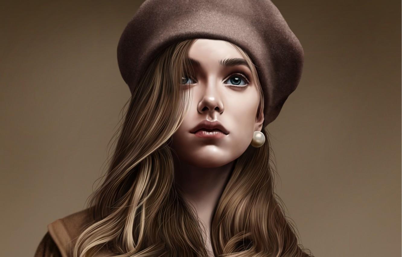 Photo wallpaper girl, face, art, takes, headdress