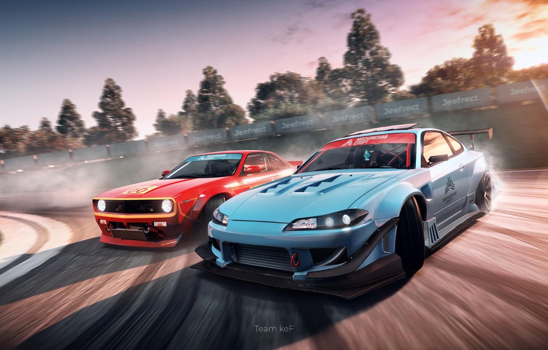 Photo wallpaper The game, Speed, Race, Nissan, Wallpaper, Skid, Drift, Silvia, Nissan, Drift, Championship, ESports, Drain, Sylvia, …