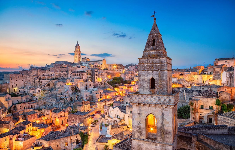 Photo wallpaper building, tower, home, Italy, Italy, Matera, Basilicata, Mater, Basilicata