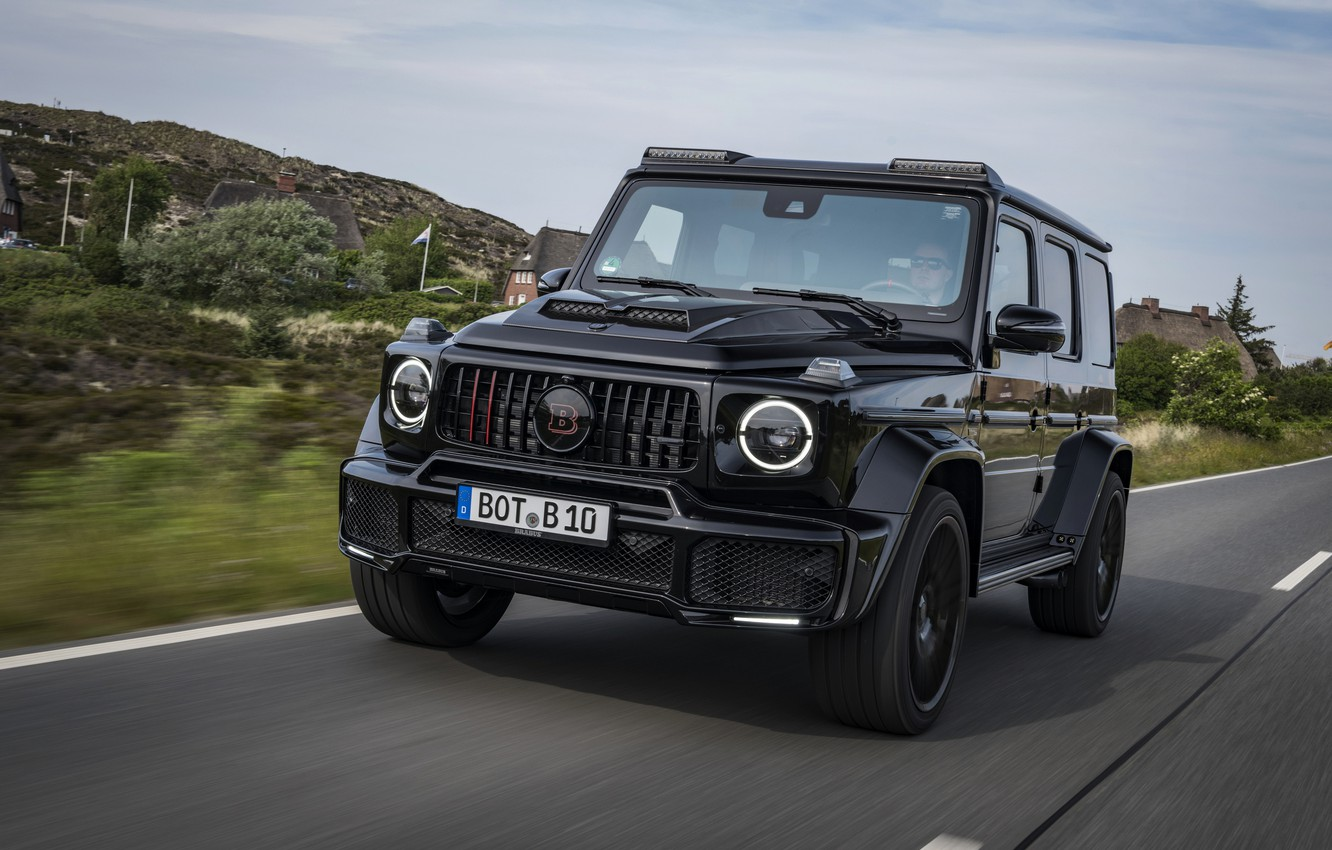 Photo wallpaper road, black, Mercedes-Benz, SUV, Brabus, AMG, G-Class, G63, G 63, 2019, W464, Black Ops 800