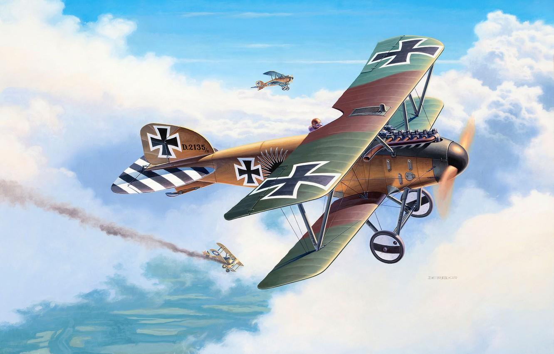 Photo wallpaper Germany, fighter, biplane, Andrew Deredos, Albatros D. III, Первая мировай война
