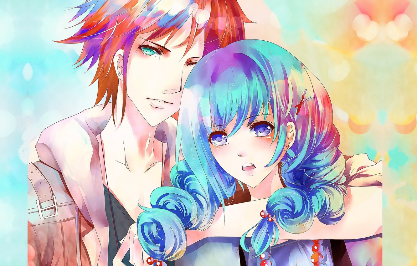 Photo wallpaper look, hand, red, jacket, blue eyes, blue hair, hugs, bangs, the guy with the girl, …