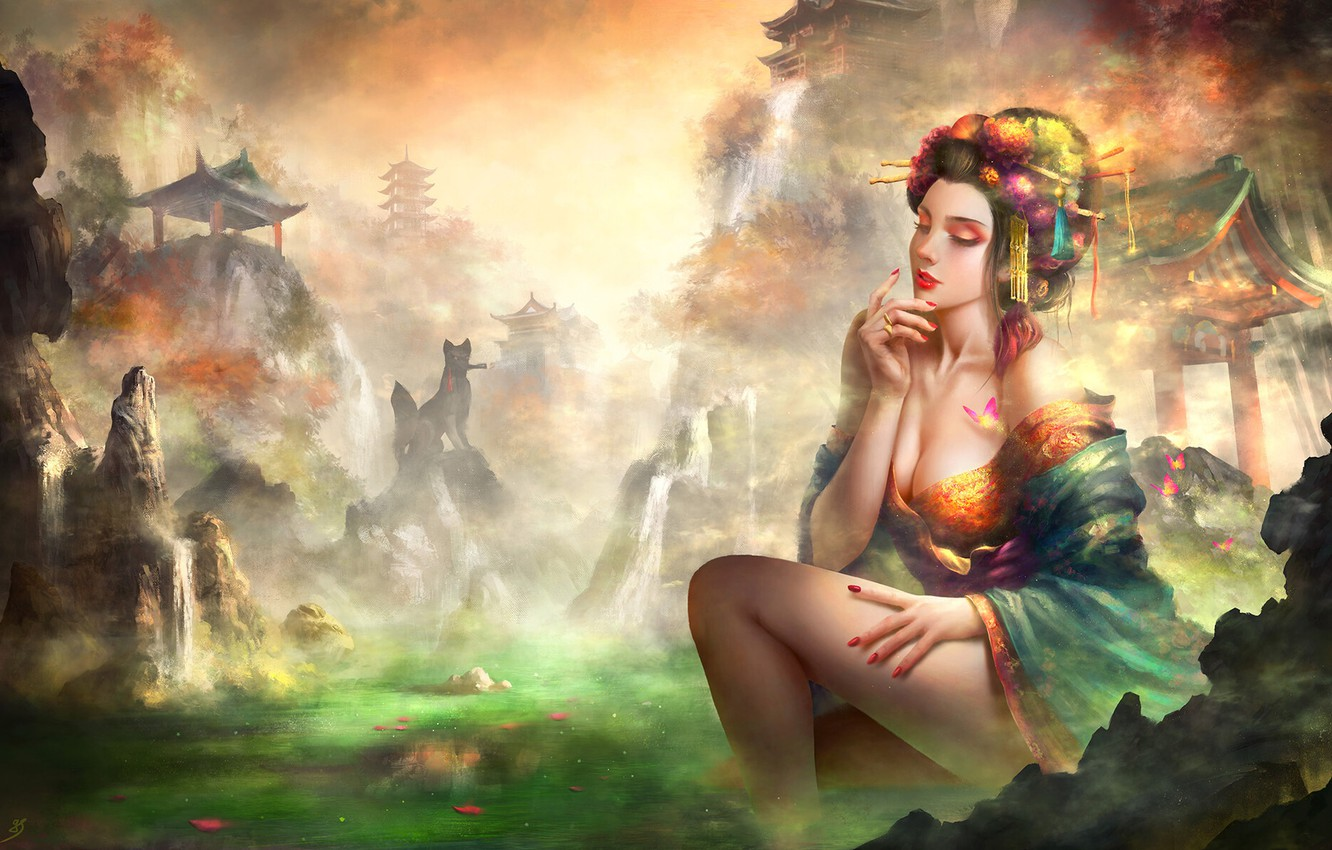 Photo wallpaper Color, Girl, Figure, Lake, Style, Girl, Dress, Asia, Fantasy, Architecture, Art, Art, Beauty, Style, Color, …