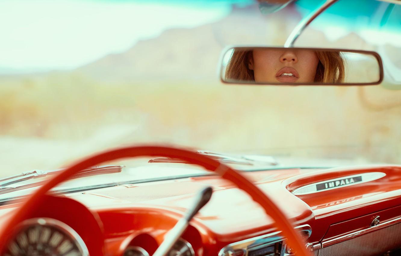 Photo wallpaper red, reflection, panel, mirror, lips, salon, retro, Chevrolet Impala, DEREK HEISLER