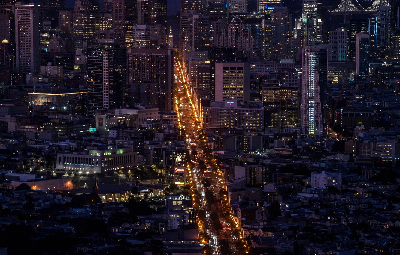 Photo wallpaper road, night, the city, lights, building, megapolis, the view from the top