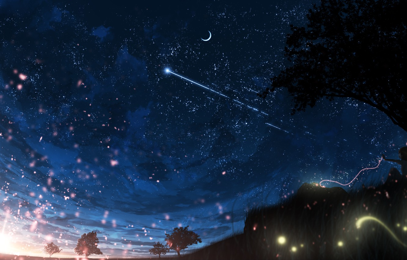 Photo wallpaper girl, night, nature, crying, the thread of fate