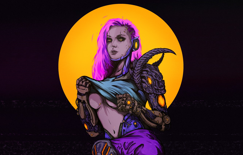 Photo wallpaper Girl, Figure, Style, Girl, Background, Art, Art, Style, Fiction, Fiction, Cyborg, Illustration, Cyborg, Figure, Cyberpunk, …