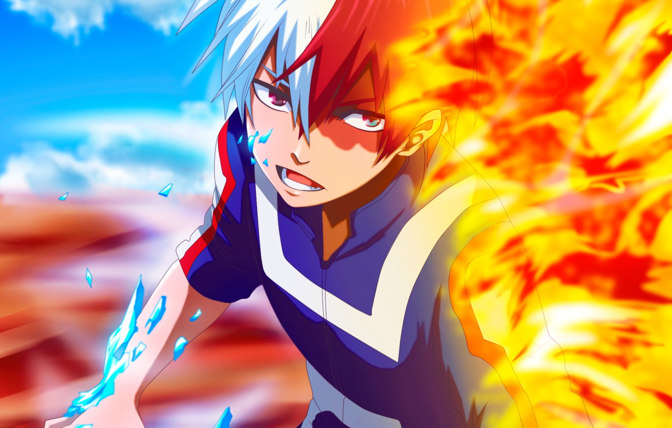 Wallpaper Fire Ice Guy Fad My Hero Academia Boku No Hero Academy Todoroki Shoto My Hero Academy Images For Desktop Section Syonen Download