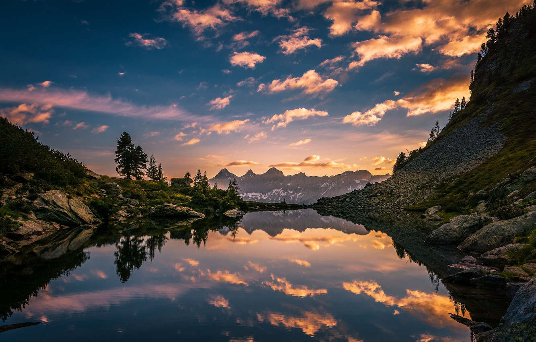 Photo wallpaper the sky, mountains, lake, reflection, dawn, morning, Austria, Alps, Austria, Alps, Styria, Mirror Lake, Styria, …