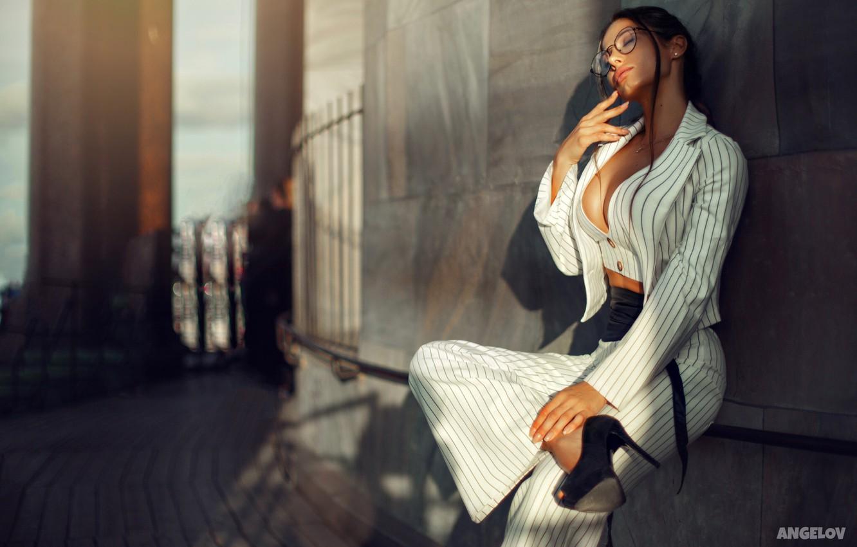 Photo wallpaper girl, pose, mood, glasses, costume, shoes, jacket, pants, closed eyes, Daria Shy, Eugene Angels, Angelov