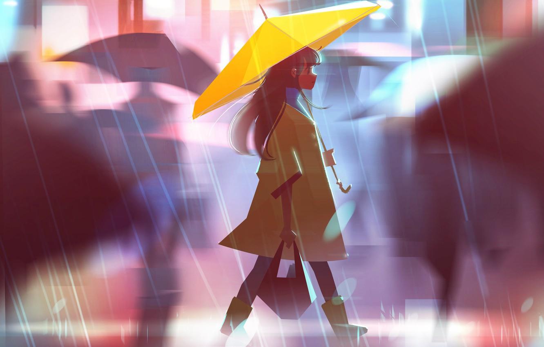 Photo wallpaper street, umbrella, blur, girl, bag, walk, cloak, the shower, art, Jenny Yu