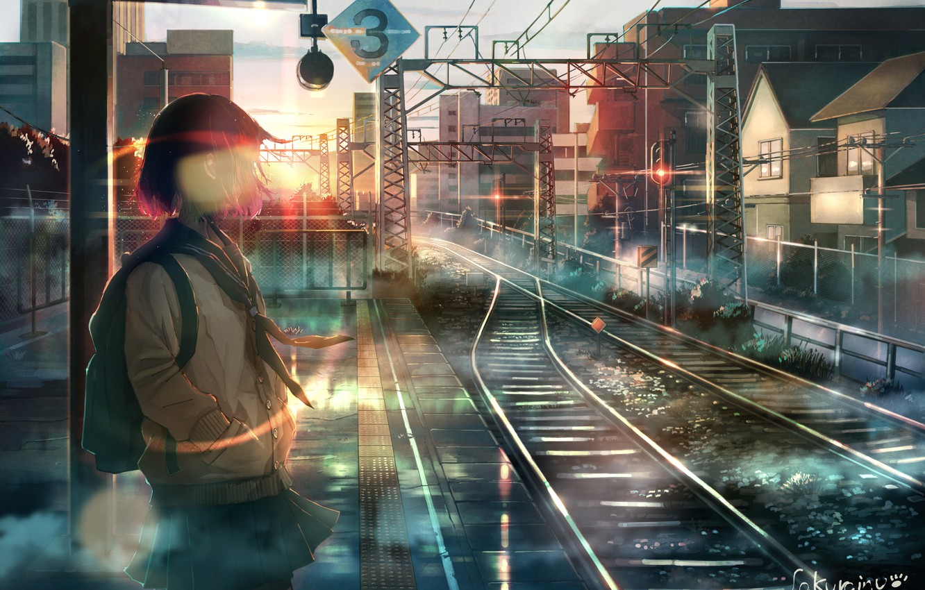 Photo wallpaper wire, rails, home, Japan, schoolgirl, backpack, sunrise, platform, railway station, the road into the distance, …
