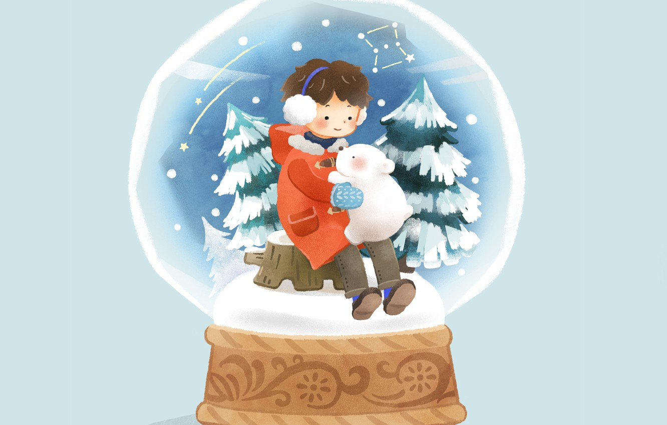 Photo wallpaper snow, boy, tree, blue background, bear, snow globe, on the stump