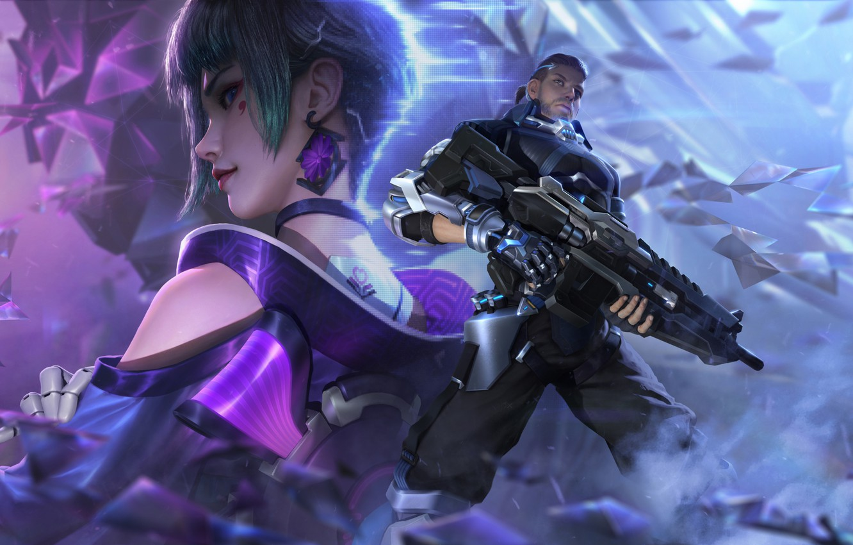 Photo wallpaper Girl, Neon, Weapons, Guy, Art, Games, Fiction, Cyberpunk, cyber hunter