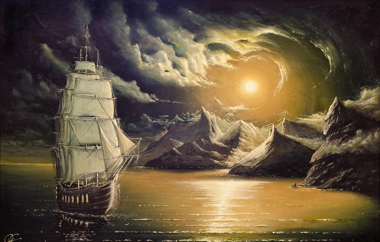 Photo wallpaper the sky, the sun, the ocean, rocks, shore, Sea, picture, Ship, art, beautiful, calm