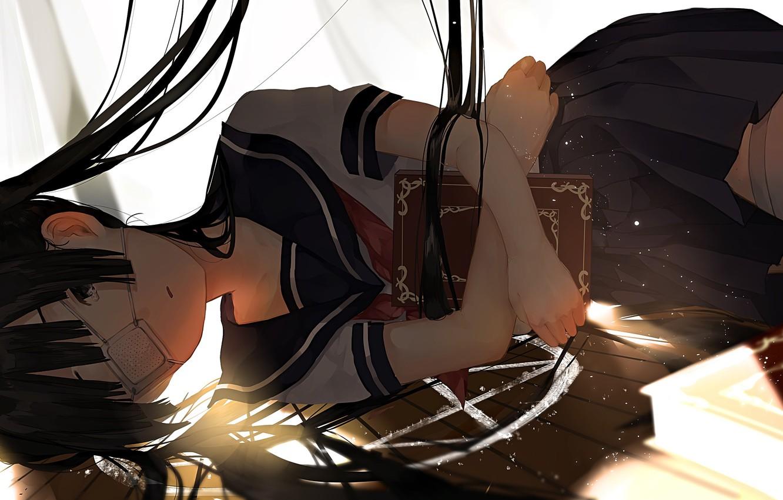 Photo wallpaper book, schoolgirl, witchcraft, pentagram, long hair, eye patch, lying on the floor, bangs, sailor