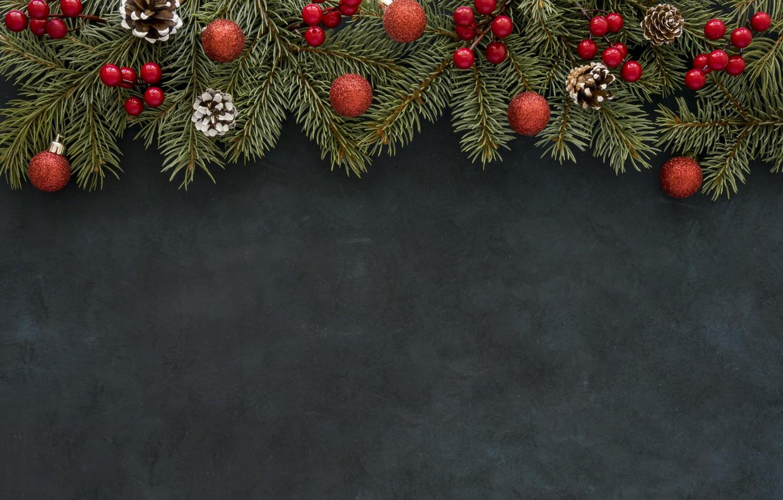 Photo wallpaper decoration, balls, Christmas, New year, christmas, balls, wood, decoration, frame, fir tree, fir-tree branches