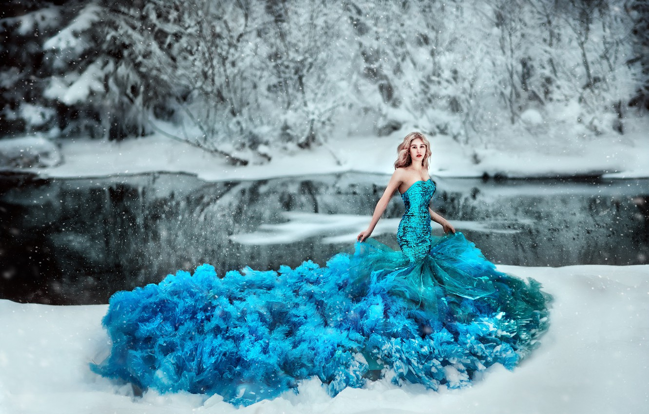 Photo wallpaper winter, frost, forest, girl, snow, trees, branches, pose, lake, pond, blue, shore, scales, dress, blonde, …