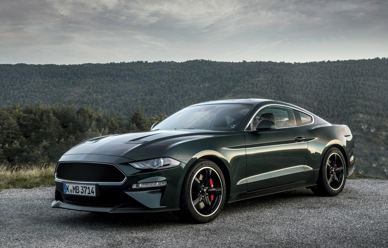 Photo wallpaper greens, Mustang, Ford, 2018, Bullitt, fastback