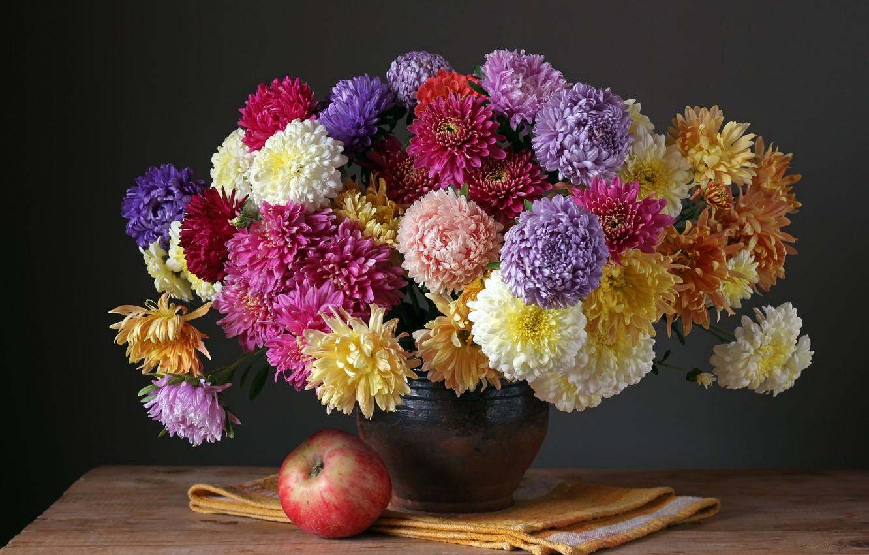 Photo wallpaper autumn, flowers, apples, bouquet, colorful, fruit, still life, flowers, autumn, fruit, still life, bouquet