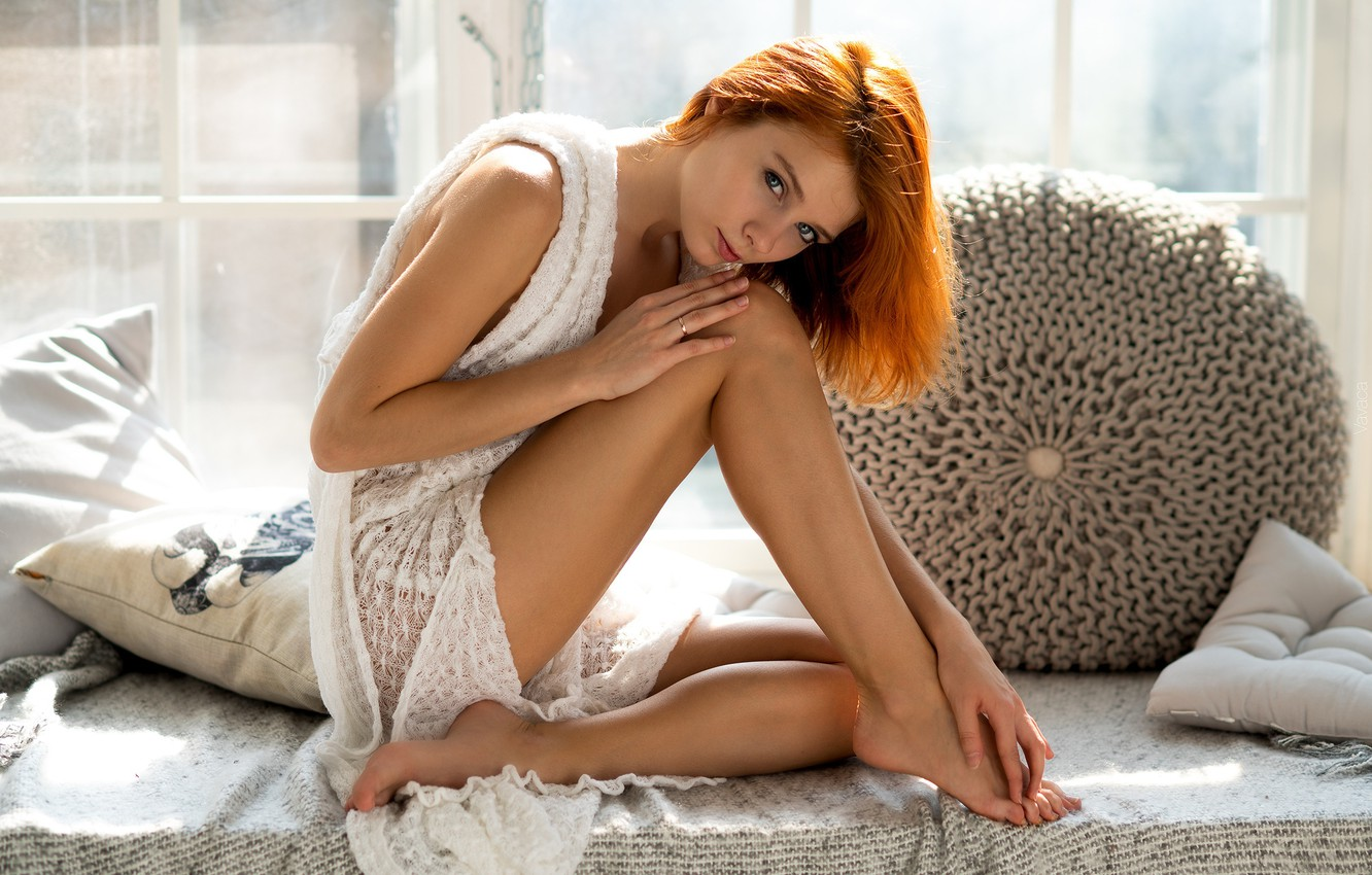 Photo wallpaper look, girl, pose, feet, pillow, red, redhead, Vladimir Nikolaev, Marta Gromova, Marta Gromova