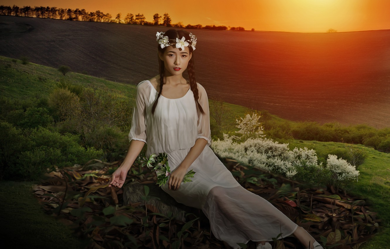 Photo wallpaper field, look, girl, light, sunset, flowers, nature, pose, mood, treatment, dress, hill, meadow, art, girl, …