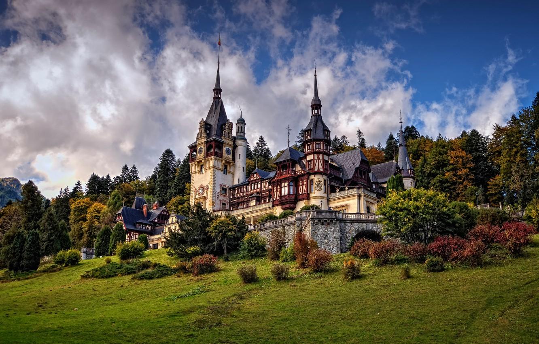 Photo wallpaper trees, castle, architecture, the bushes, Romania, Romania, Sinai, Peles Castle, Peles Castle, Sinaia
