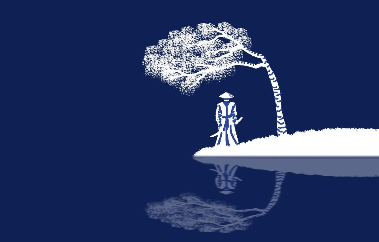 Photo wallpaper sword, fantasy, minimalism, weapon, hat, katana, tree, blue background, reflection, digital art, artwork, Samurai, warrior, …