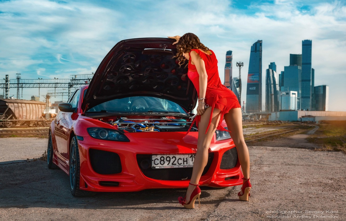 Photo wallpaper the sky, the sun, clouds, landscape, red, pose, engine, model, building, home, makeup, the hood, …