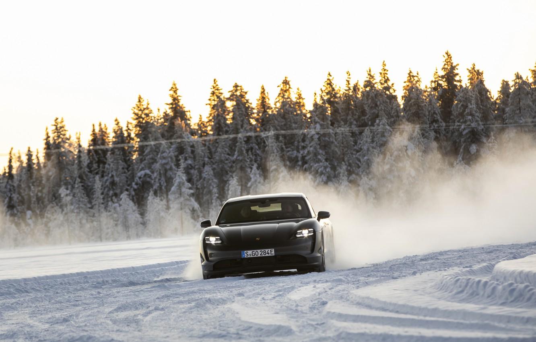 Photo wallpaper snow, black, track, Porsche, turn, 2020, Taycan, Taycan 4S