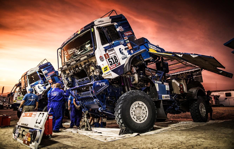 Photo wallpaper Sunset, The evening, Auto, Machine, Truck, Master, Russia, Kamaz, Rally, Dakar, KAMAZ-master, Dakar, Rally, KAMAZ, …