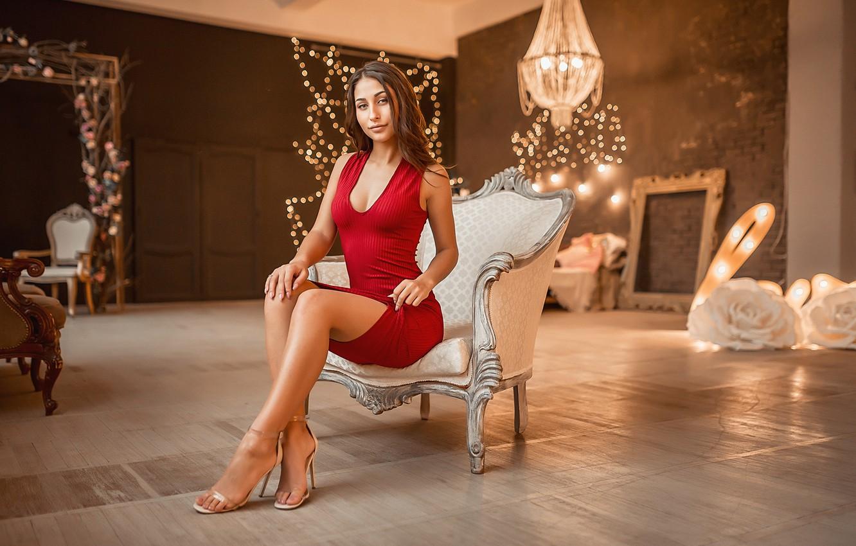 Photo wallpaper dress, model, sofa, A Diakov George