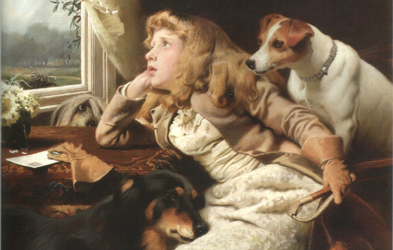 Photo wallpaper window, girl, three dogs, BARBER, NO RIDE TODAY