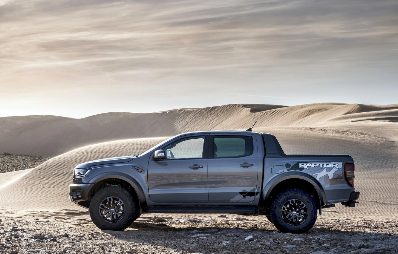 Photo wallpaper sand, grey, desert, Ford, side view, Raptor, pickup, Ranger, 2019
