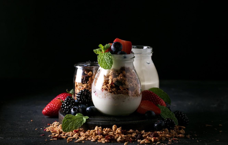 Photo wallpaper berries, Breakfast, muesli, yogurt