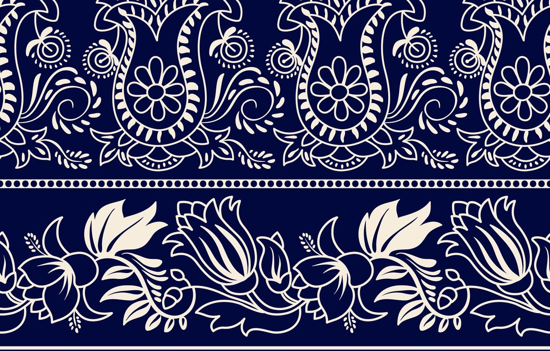 Wallpaper White Flowers Pattern Ornament Blue Background